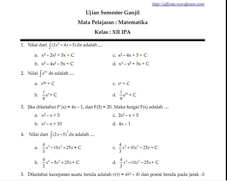 Soal Ujian Semester Ganjil Kelas XII IPA Pelajaran Matematika  Wellcome To My Blog